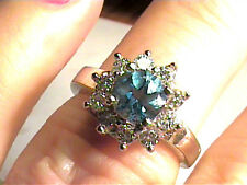 RING 6 blue topaz silver sterling 925 SOLITAIRE sapphire white gold natural SMAL