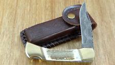Custom Stag Damascus Lockback Folding Hunter with Custom Sheath. Nice.