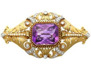 26.32ct Amethyst 1.02ct Diamond and Seed Pearl and 18k Yellow Gold Brooch