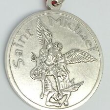 St Michael the Archangel Angel Medal Pendant Silver tone 2 1/2 inch