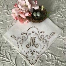 AnTiQuE PADDED EMBROIDERED Monogram M VINTAGE WEDDING Bridal HANKY