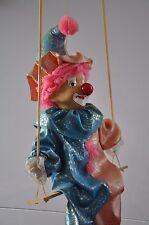 "Vintage Hanging Clown Porcelain  Doll on Wooden Swing 18"""