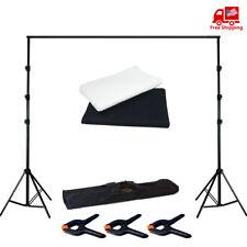 Photography Studio Black+White Backdrop Background Photo Stand Muslin Kit Set