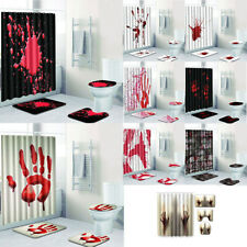 Halloween Blood Hand Bathroom Shower Curtains Bath Rugs Toilet Seat Cover Sets