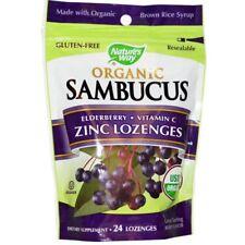 Sambucus organici di zinco PASTIGLIE, sapore di bacche, 24 PASTIGLIE-NATURE 'S WAY