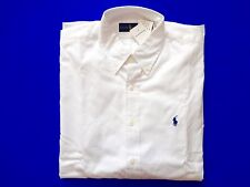 New Ralph Lauren Polo 100% Cotton White Pony Logo Button Up Shirt  17.5 / 44