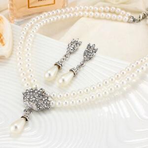 Fashion Women Faux Pearl Crystal Necklace Earring Bridal Wedding Jewelry Set LH