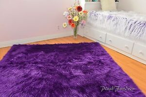 Purple Faux Fur Rug Shaggy Premium Nursery Area Rug Sheepskin Flokati Accent