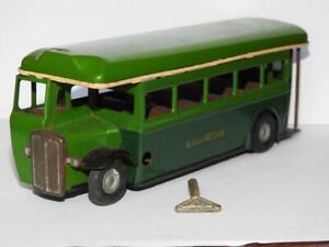 TRIANG MINIC 52M VINTAGE 1946 TINPLATE CLOCKWORK SINGLE DECK GREENLINE BUS + KEY