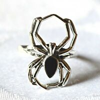 Silver Spider Ring Black Onyx 925 Sterling Wisdom Wicca Witch Pagan Goth Magic