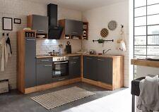 Winkelküche Küchenzeile L-Form Küche Einbauküche Eiche grau 250x172 cm respekta