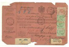 Adreskaart gefr.#23+3x#24 van Leiden n.Frankfurt (1890) + 3 versch. trein-ST.!!!