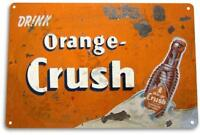 """Orange Crush"" Soda Logo Metal Decor Wall Art Store Bar Sign"