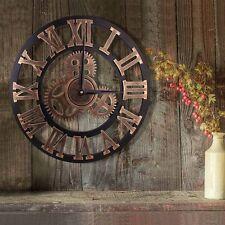 Premium Vintage Clock Retro Handmade 3D Decorative Gear Wooden Wall Clock 40 cm