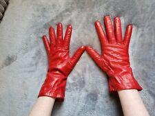 Vintage Womans Gloves Leather Red cashmere lined Nordstroms