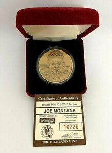 VINTAGE Joe Montana - Bronze Medallion The Highland Mint Coin Collection #10226