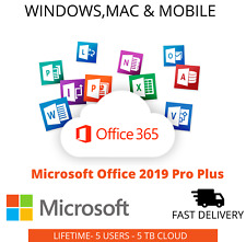 Microsoft Office 365 2019 Lifetime Account For 5 Pcs Mac Win 5TB✅