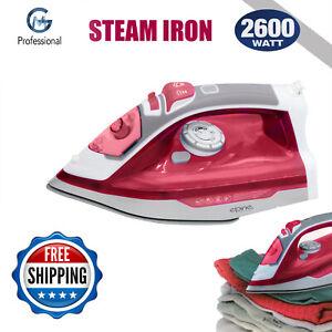 2600W Powerful Steam Iron Super Glide Steam Ceramic Coated Plate Soft Grip PINK