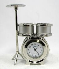 "Sanis  DRUM SET Silver Desk Clock ""New in Box"" Executive Gift"
