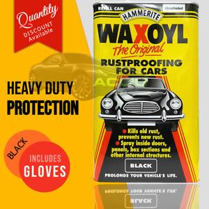 Hammerite Waxoyl BLACK Car Underbody Seal Rust Proofing Treatment 5 LITRE+Gloves