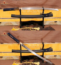 Handmade Wakizashi Japanese Samurai Sword Folded Steel Sharp Blade Dragon Tsuba