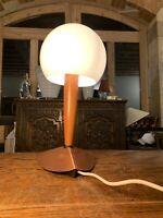 Danish Vintage Table Lamp, Teak, Copper & Opaline Glass Globe, Scandi, MCM