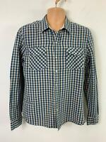 LEVI STRAUSS & CO BLUE WHITE CHECKED GINGHAM SHIRT SIZE M MEDIUM LEVIS WESTERN