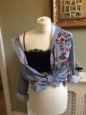 ZARA Stripe Embroidered Shirt Blouse Blue/White Size Large UK 12/14 BNWT