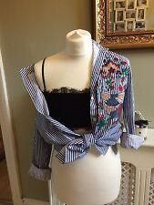 ZARA Stripe Embroidered Shirt Blouse Blue/White Size Large UK 12/14 BNWT