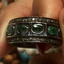 Emerald Studded Eternity Ring Jewelry Estate Antique 2.51cts Rose Cut Diamond