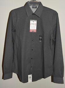 New Mens Van Heusen 14 1/2 Dress Shirt Slim Fit Flex 32/33 Steel Gray Small
