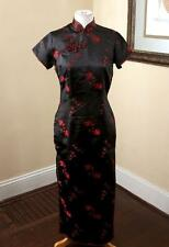 Vintage Flying Dragon Red Black Oriental Kimono Dress Size 38 - S Mandarin Boho