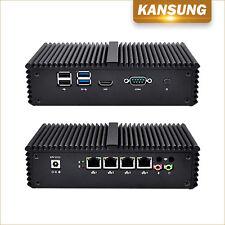 Fanless Mini PC Barebone 4 Lan+4 USB+HD+COM Intel Celeron Broadwell 3215U CPU