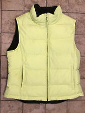 Athletic Work Full Zip Goose Down Puffer Vest, Womens Size Medium, Green & Black
