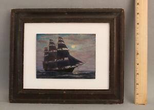 Antique VIVIAN F PORTER American Tonalist Moonlit Maritime Frigate Oil Painting