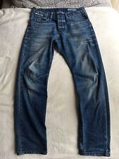 Men's Stylish Curved Leg Tapered Fit Denim Blue Jeans By Jack & Jones Size 30/30