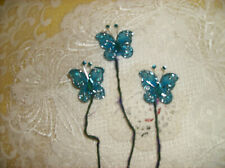 Set/3 Turquoise Blue & Silver Sparkling Beaded Butterfly Picks Floral Arrang New