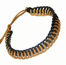 Real Leather Plaited Wristband Bracelet BROWN Adustable - J