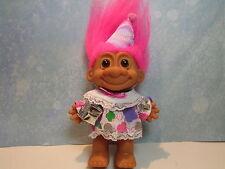 "Happy Birthday Girl w/Present - 5"" Russ Troll Doll - New In Original Wrapper"