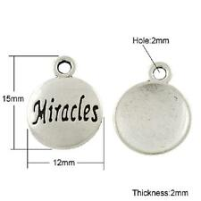 20 Tibetan Silver  Miracles Charms Pendants -  Round Word Pendant - 15mm