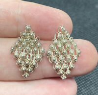 Vintage Sterling Silver 925 Ornate Studded Modernist Pierced Earrings