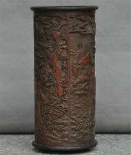 China Old Wood Carved 8 God Eight Immortals Statue Bottle Brush Pot pencil vase