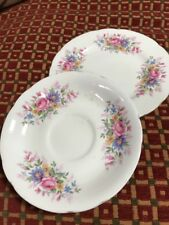 QUEEN ANNE BONE CHINA -TEA/SIDE PLATE & SAUCER PINK ROSE PATTERN