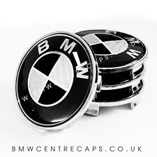 BLACK AND WHITE CARBON BMW WHEEL CENTRE CAPS x 4 NEW 2017 68mm logo emblem set