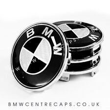 Negro Y Blanco Carbono BMW Centro De Rueda Caps X 4 nuevo 2017 68mm Hub Set Emblema