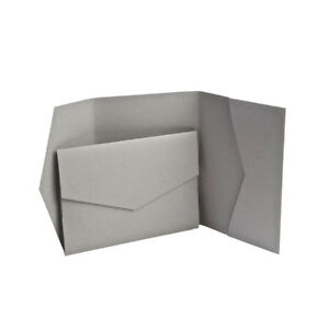 Grey Matte Pocketfold invites with envelopes. Wedding Cards, Pocket Weddings