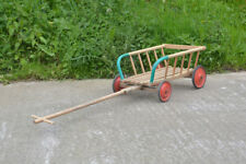 Wooden cart vintage pull along child's cart old toy trolley little dog cart