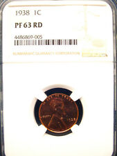 1938 1C Lincoln Wheat Cent NGC PR63 RED 1C Penny