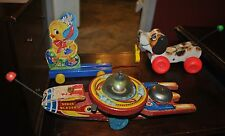 FISHER PRICE PULL TOY LOT # 3 SPACE BLAZER 750, CHICK 302, LITTLE SNOOPY 693