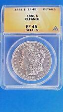 1881 Morgan Silver Dollar ANACS  XF 45